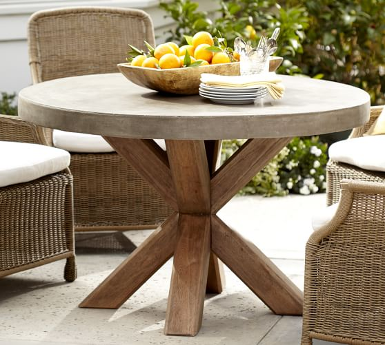 Pin By Melissa Atkinson On 375 Sitting Room In 2021 Round Patio Table Concrete Dining Table Wood Patio Table