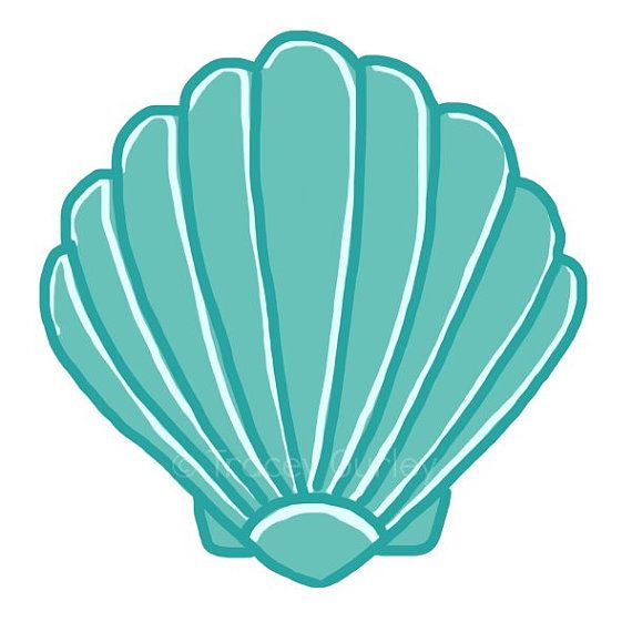 turquoise scallop shell original art by traceygurleydesigns rh pinterest com scallop clipart images scallop circle clip art