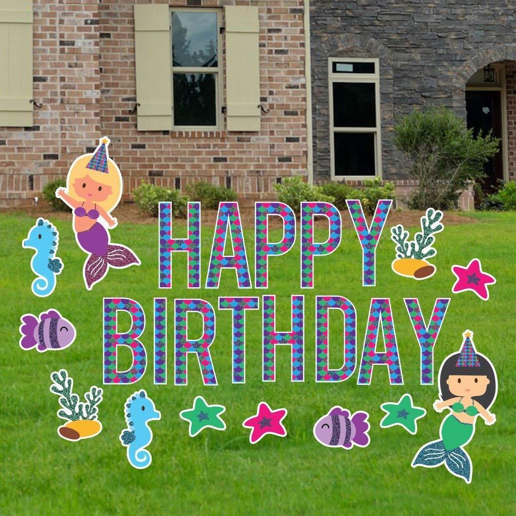 Birthday yard letters mermaid yard decoration with faux