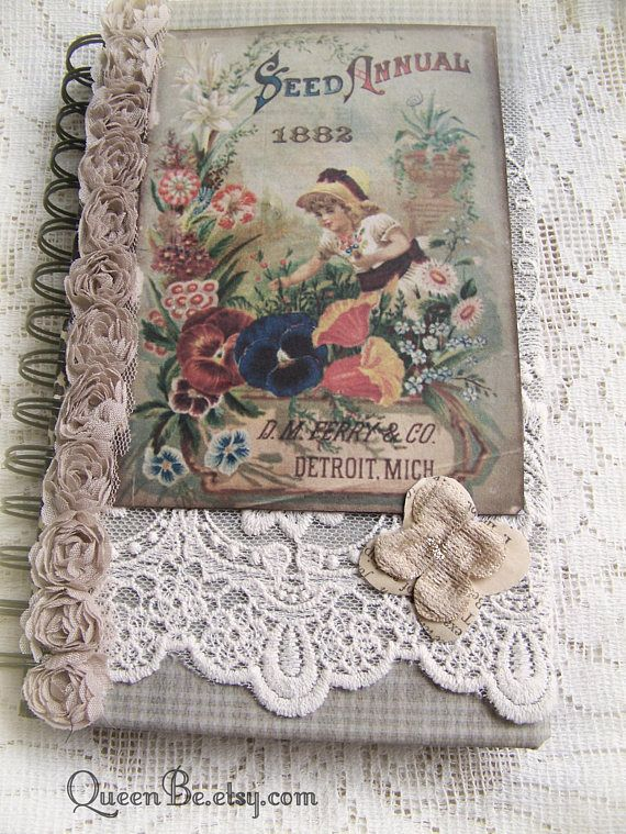 Handmade Garden Journal Blank Book Memory Book Vintage ...