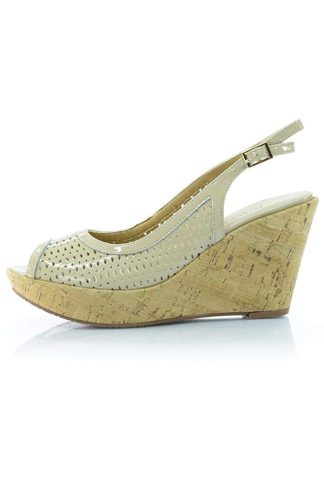 "The perforated patent leather on this Vaneli wedge is perfectly complimented by the cork heel.     Heel height: 3.5""; 1"" platform    Patent Leather Wedge by Vaneli. Shoes - Wedges South Carolina"