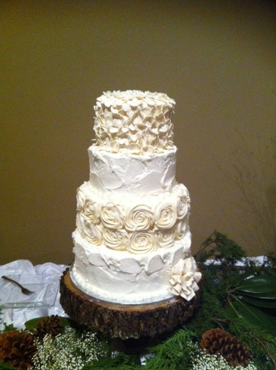 Rustic Wedding Cake With Piped Roses Rough Texture Hydrangea Flowers Icing On