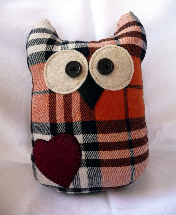 Plush Owl Made Of Recycled Flannel Shirts