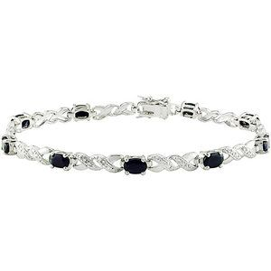 """Sapphire and Diamond Accent Sterling Silver Bracelet, 7"""""""