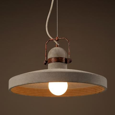 Vardo Concrete Plate Light With Rustic Metal Band | Lighting Matters ...