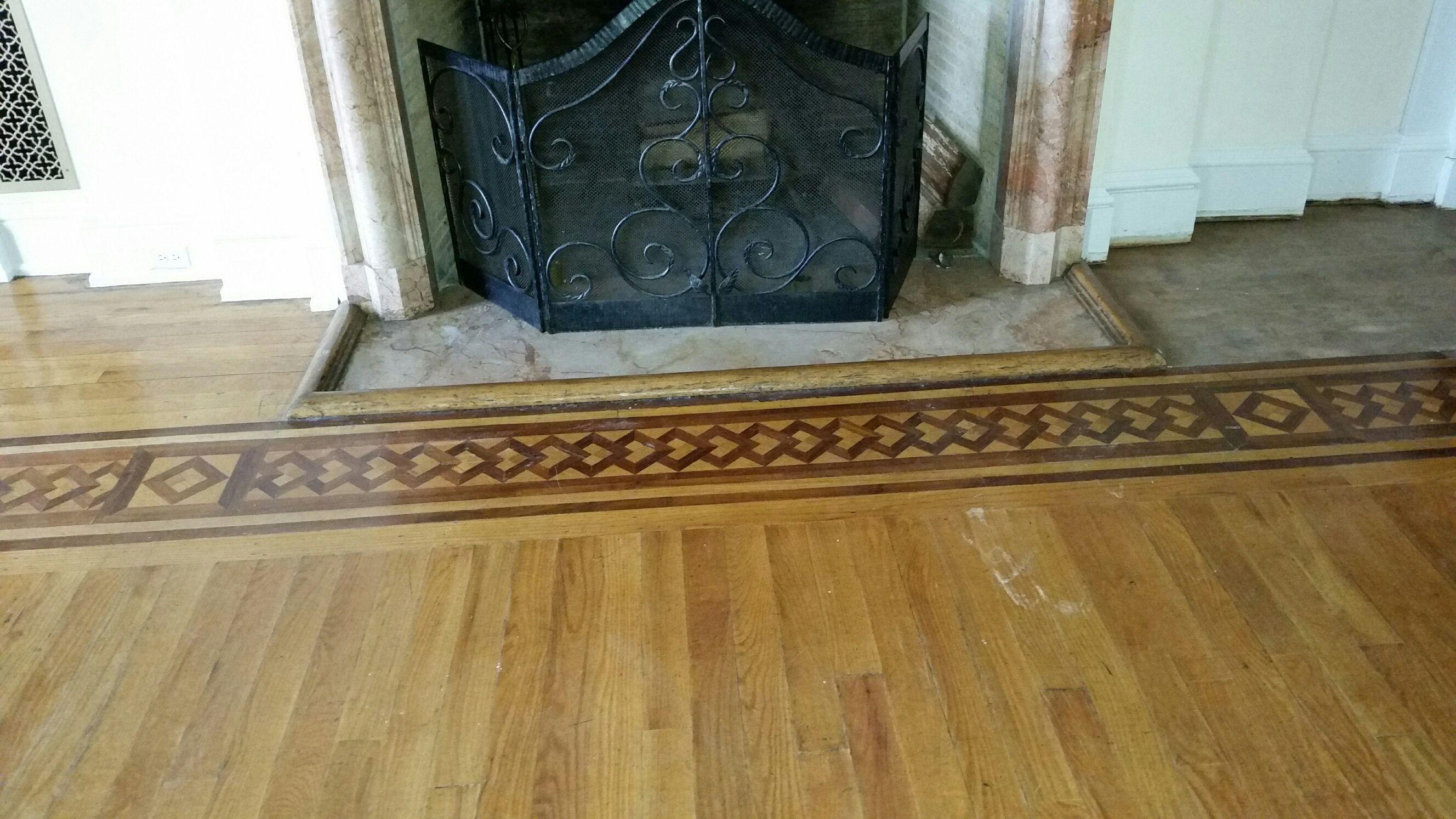 Oshkosh Designs Custom Newport Wood Floor Border Living Room