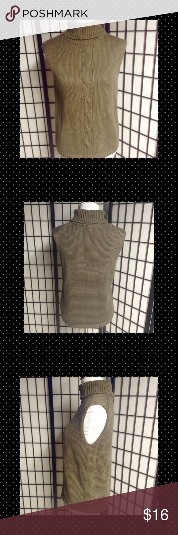 Eddie Bauer Sleeveless Turtleneck Sweater L NWT New dusty olive green 100% cotton sweater. It is sleeveless with a large turtleneck. There is a cable knit pattern down the front. This is beautiful! Eddie Bauer size L Eddie Bauer Tops