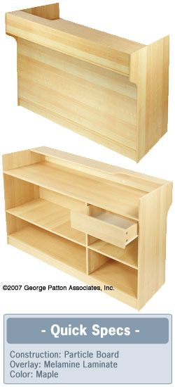 Maple cash wrap w adjustable storage shelves pull out for Wrap around desk plans