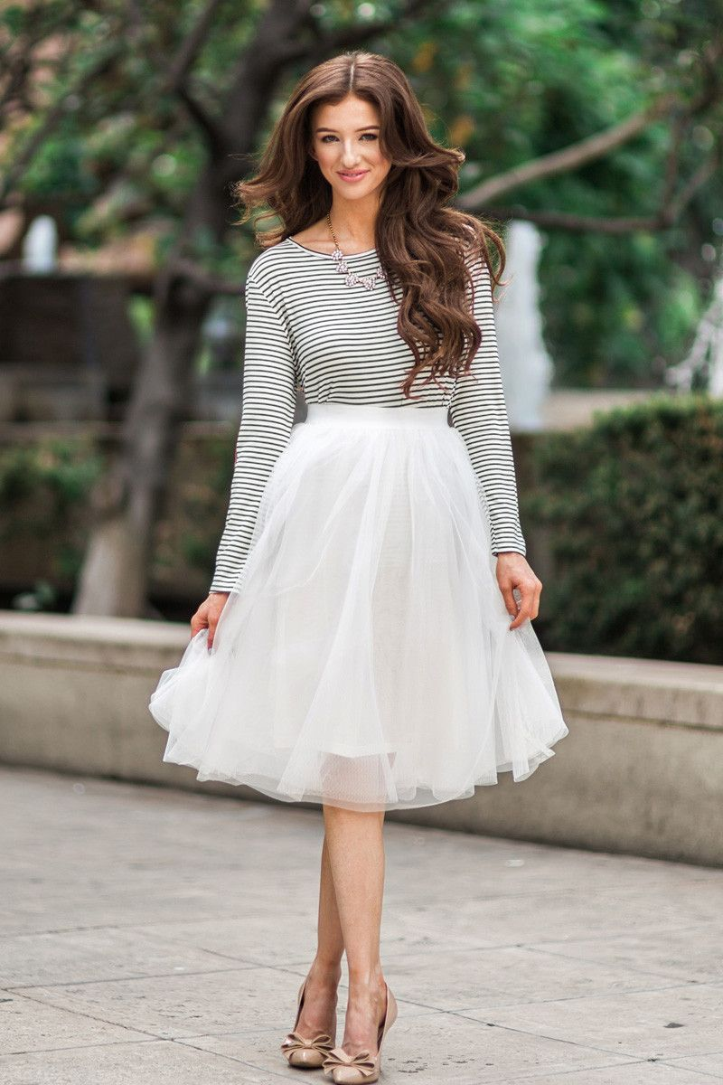 02ca2950768 White Tulle Midi Skirt, Tulle Skirts for Women, Midi Skirts, Fun and Flirty  Outfits