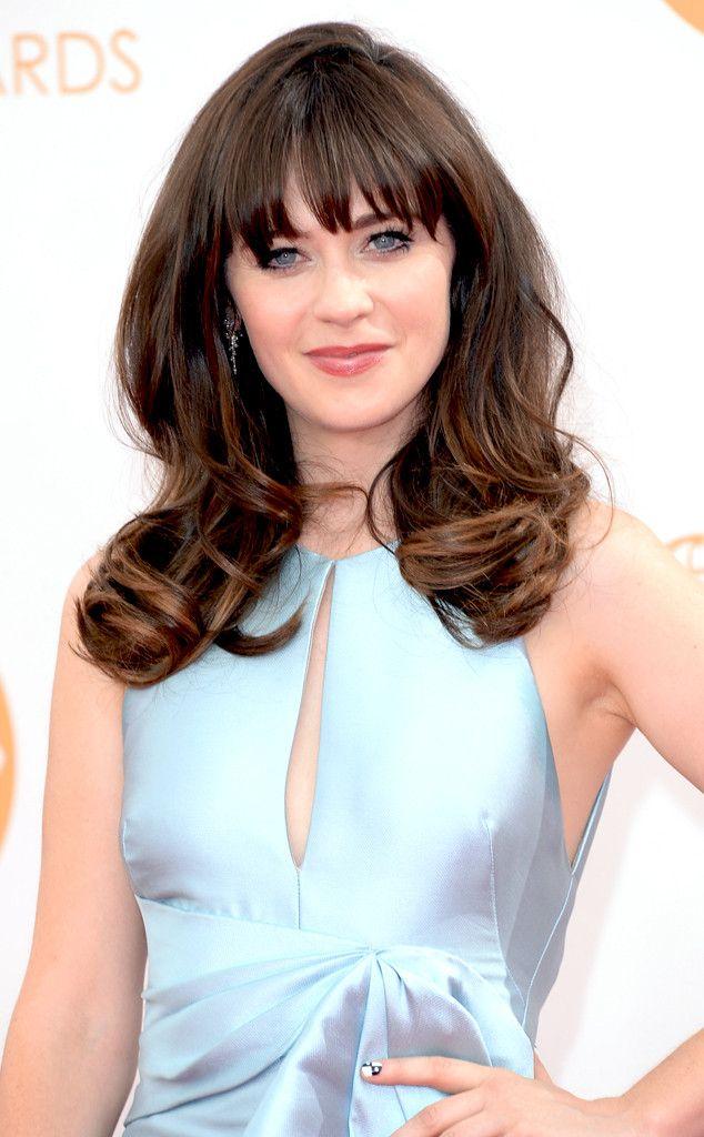 Zooey Deschanel From 2013 Emmys Red Carpet Arrivals Zooey Deschanel Hair Cool Hairstyles Hair