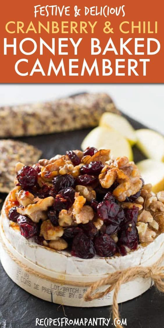 This Baked Camembert recipe is simple to make yet utterly delicious. Featuring cranberries, walnuts and a drizzle of chili honey, this is a truly sensational seasonal dish! Make this easy Christmas recipe when entertaining to really wow your guests. Click through to get this awesome recipe!!