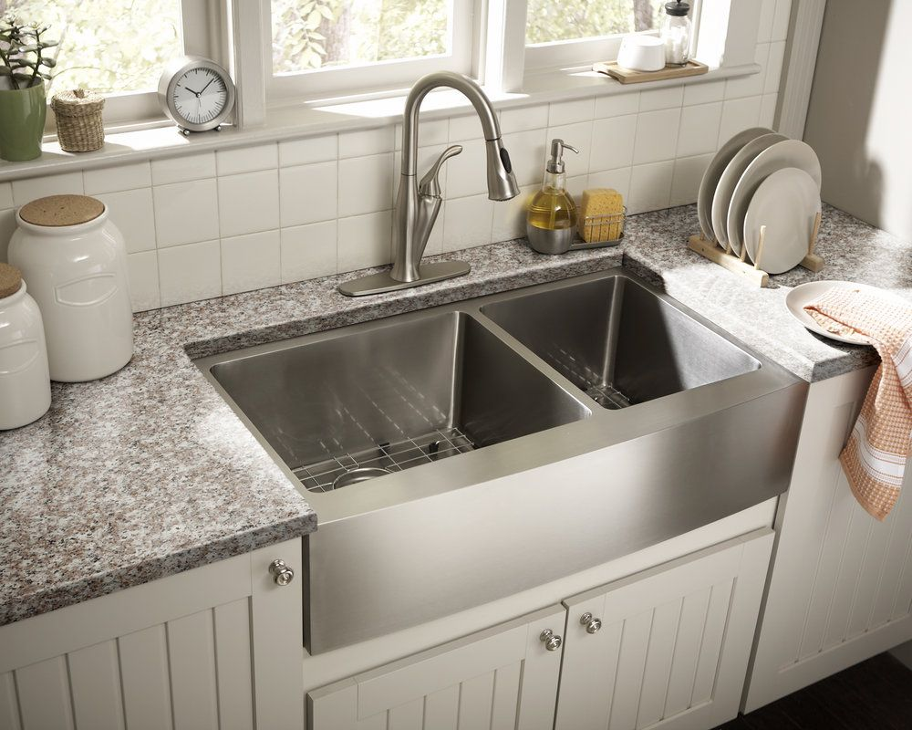 stainless steel double barn sink!! Yippee!! Farmhouse