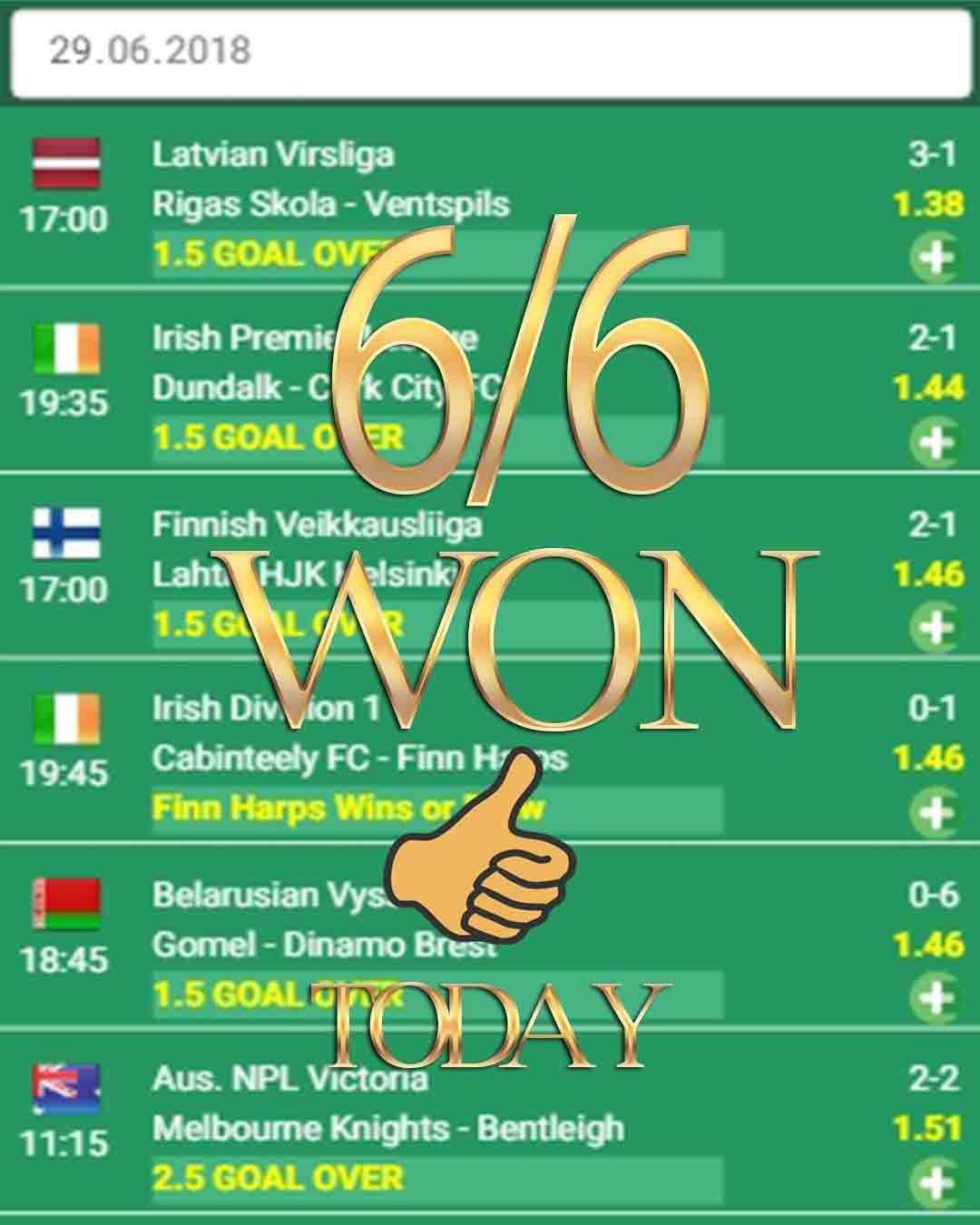 Betting tips 6/6 WON sport bets, sport wetten