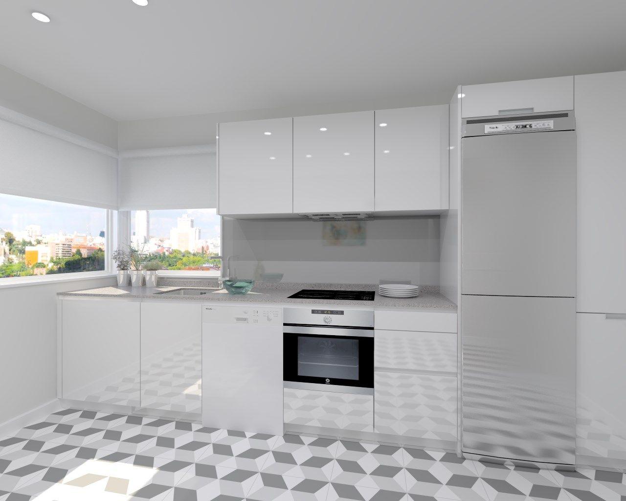 Resultado de imagen de cocina blanca con encimera gris cocina