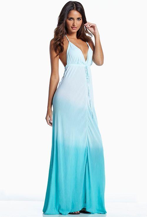 Elan International Maxi Halter Dress in Mint Ombre