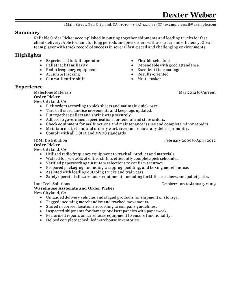 65 best of photos of sample resume warehouse order picker
