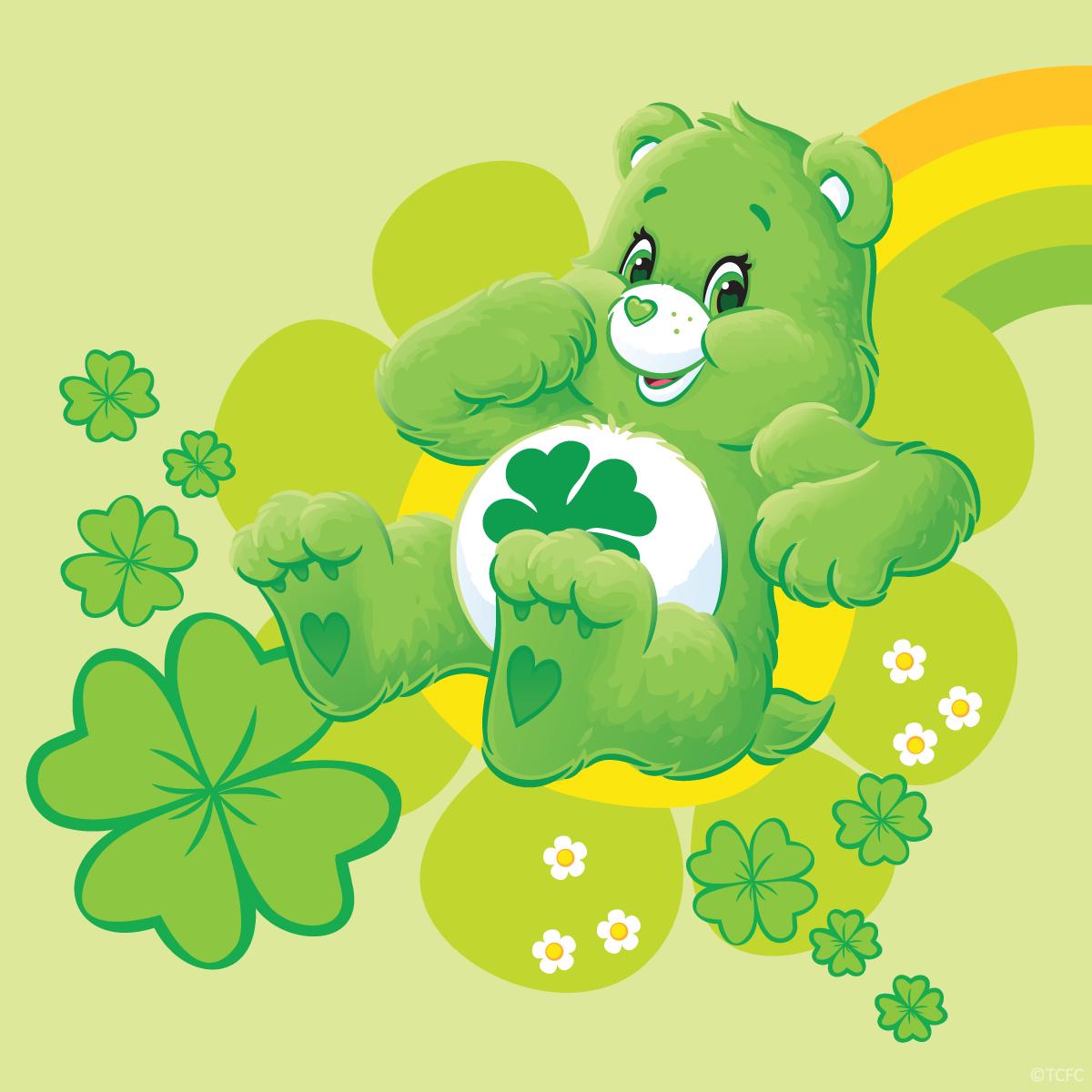 Care Bears Good Luck Bear Sliding Down A Rainbow Care Bears Cousins Bear Wallpaper Care Bear Tattoos