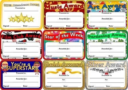 Free printable certificates for classrooms, play groups, home