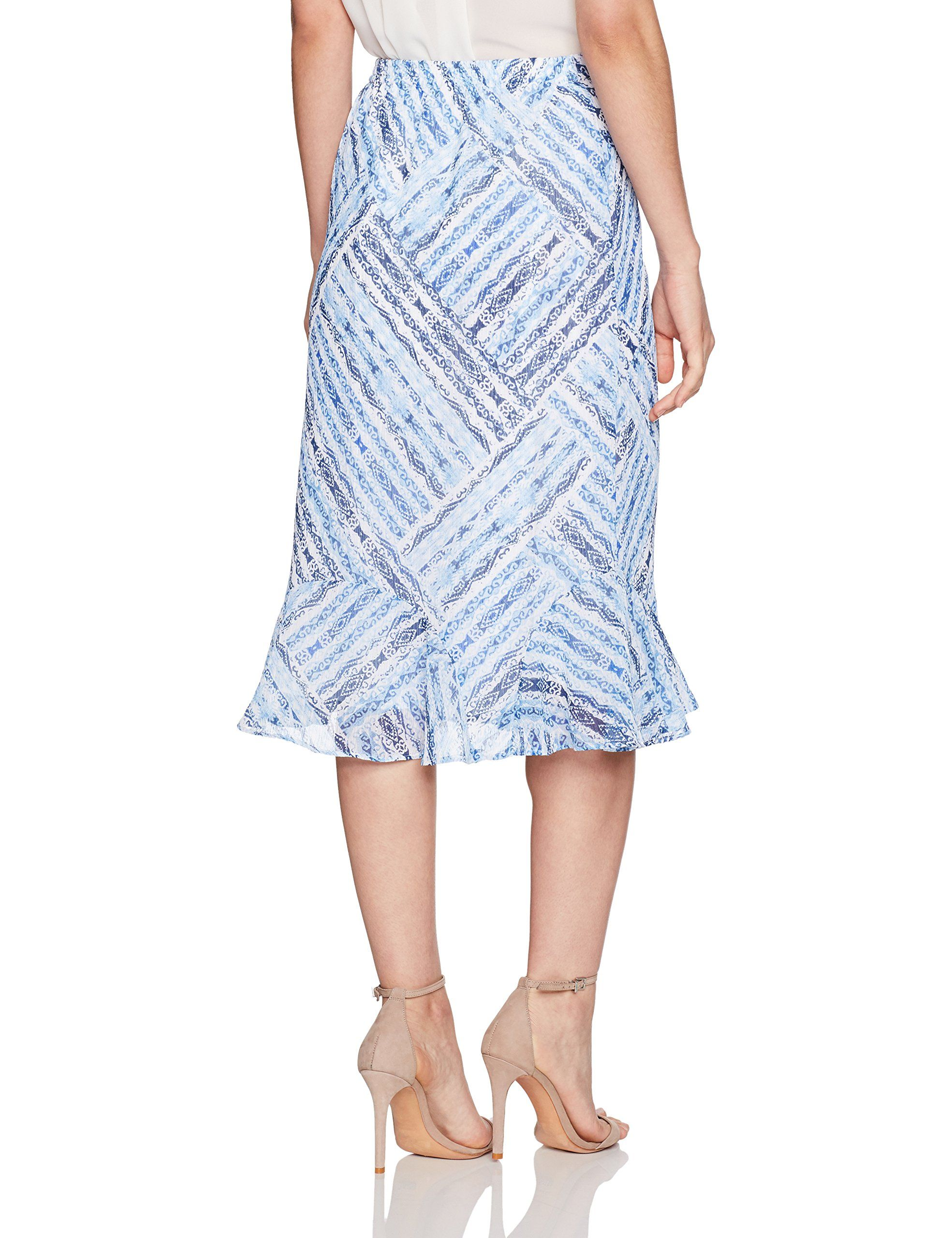 eb8935e1a Alfred Dunner Womens Petite Patchwork Print Skirt Flonce Hem Blue PXL ***  Read more testimonials of the item by checking out the web link on the  photo.