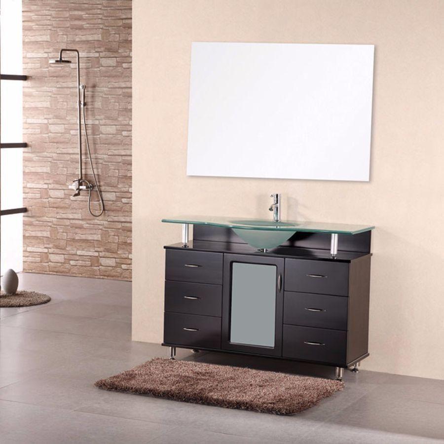 "Design Element 48"" Huntington Single Sink Vanity Set  Dec015C Unique Design Element Bathroom Vanity Design Decoration"