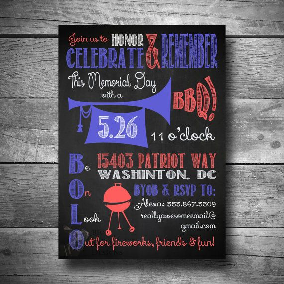 Th Of July Bbq Party Invitation Patriotic Bbq Invitation