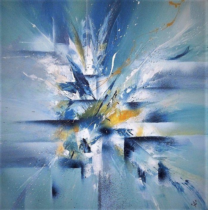 Acrylique Sur Toile Chassis 50x50 Tableau Peinture Abstrait Peinture Abstraite Bleu Peinture Abstraite