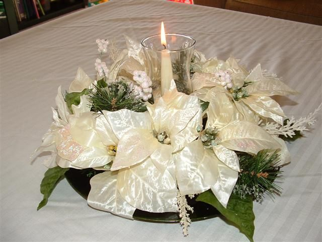 December Wedding Poinsettia Centerpiece Poinsettia Centerpiece Diy Candle Centerpieces Holiday Centerpieces