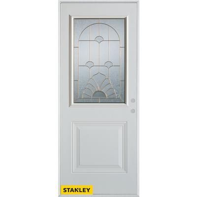 Stanley Doors   Art Deco Lite White 34 In. Steel Entry Door   Left Inswing      Home Depot Canada