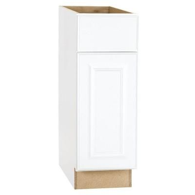 Hampton Bay 12x34.5x24 in. Base Cabinet with Ball-Bearing Drawer Glides in Satin White-KB12-SW at The Home Depot