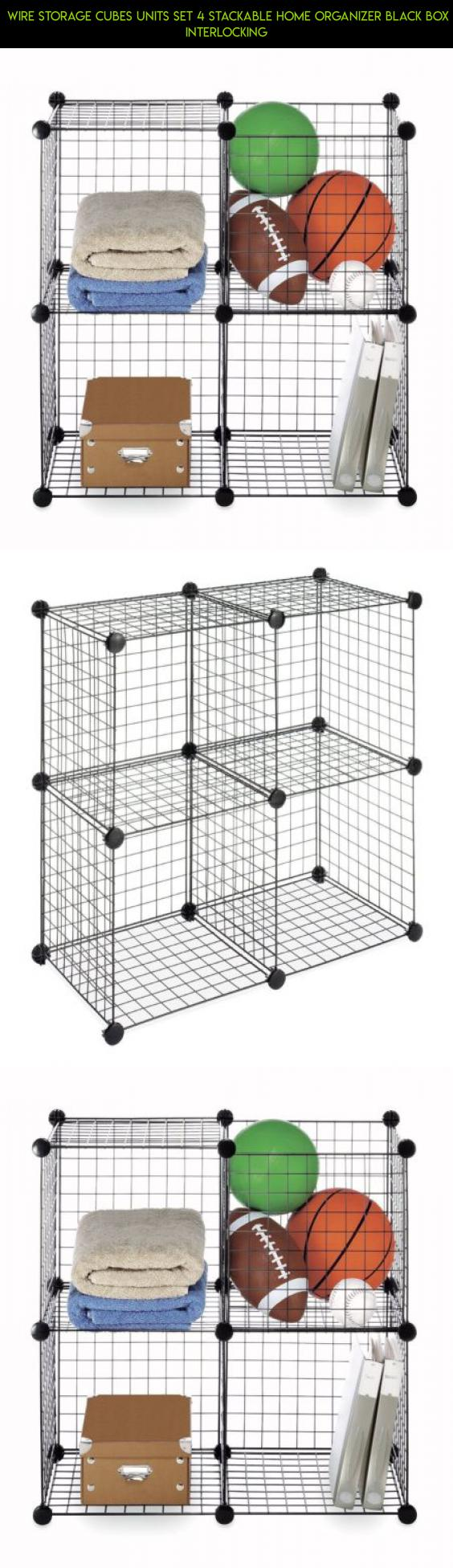Wire Storage Cubes Units Set 4 Stackable Home Organizer Black Box ...