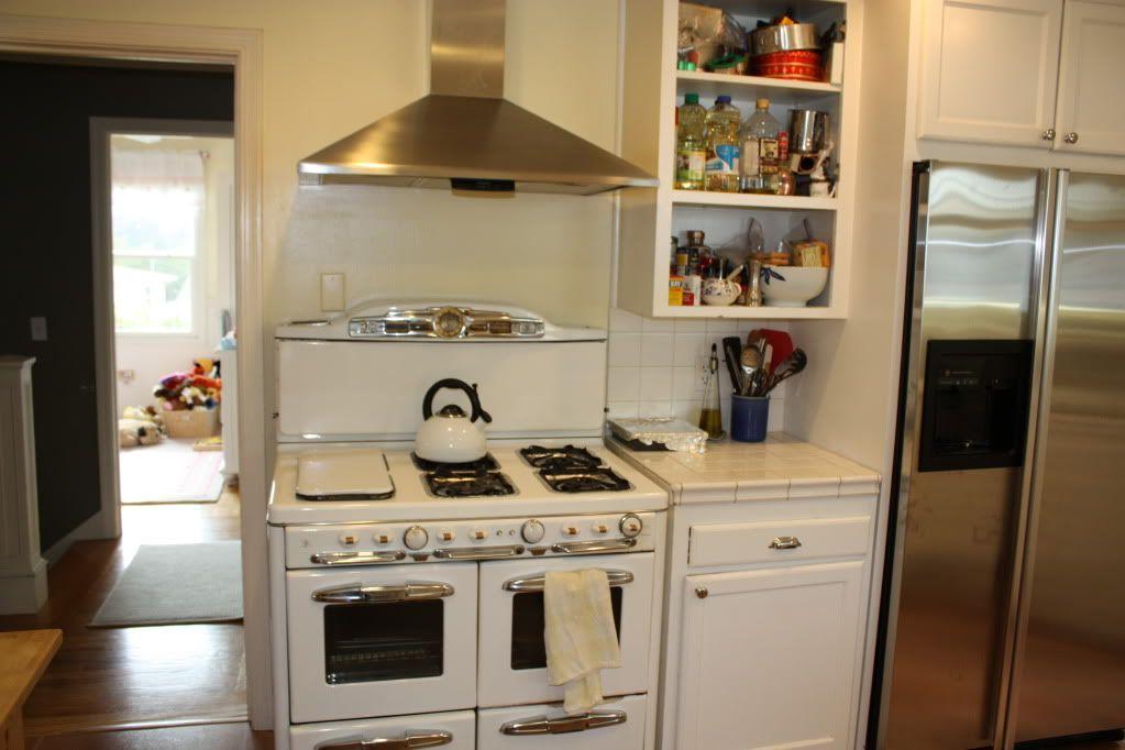 Creative Design Of Ikea Ivar Shelving: Glossy White Kitchen Appliances  Stainless Steel Range Hood Ikea