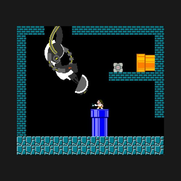 Portal characters Chell GLaDOS and even the weighted companion cube at Aperture Laboratories mash-up in the style of Super Mario Brothers and other ...  sc 1 st  Pinterest & Portal characters Chell GLaDOS and even the weighted companion ...