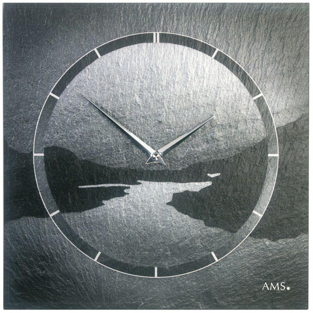 AMS 9512 Wanduhr Quarz Schiefer Naturschiefer Motiv Fjord