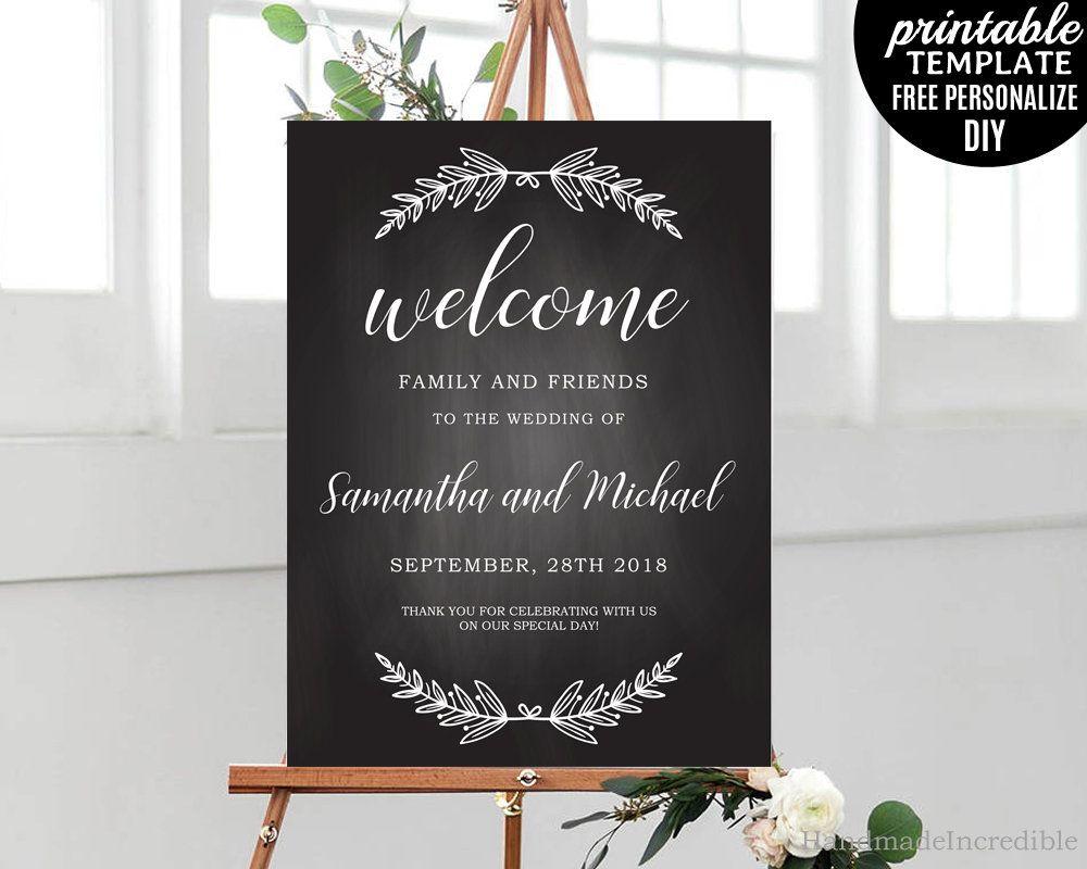 Chalkboard Wedding Welcome Poster, Printable Rustic Welcome