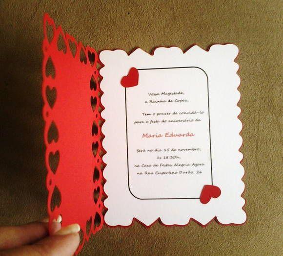 Queen Of Hearts Theme Party Invitation Card Convite Personalizado