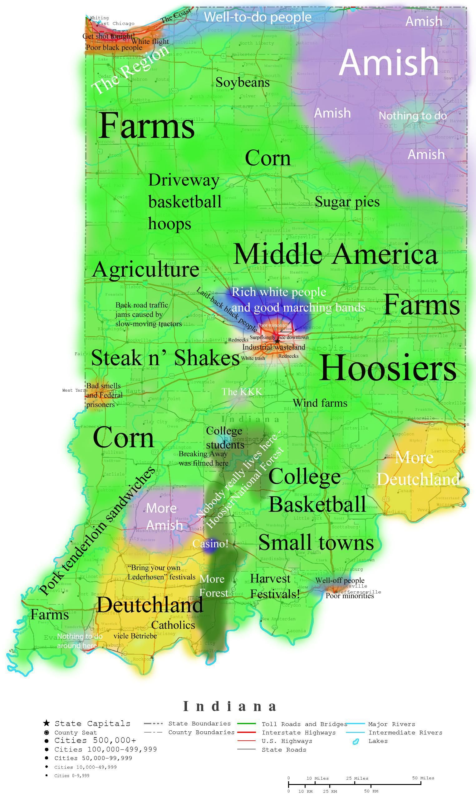 Map Of Indiana Stereotypes OC X View Map - Map if indiana