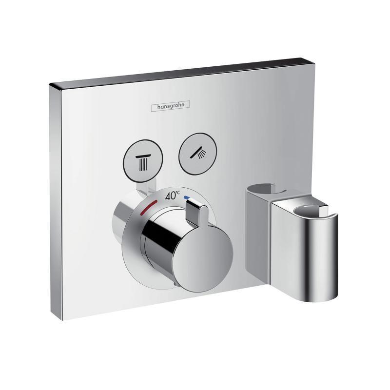 hansgrohe showerselect thermostat unterputz f r 2 verbraucher mit fixfit und portereinheit bad. Black Bedroom Furniture Sets. Home Design Ideas