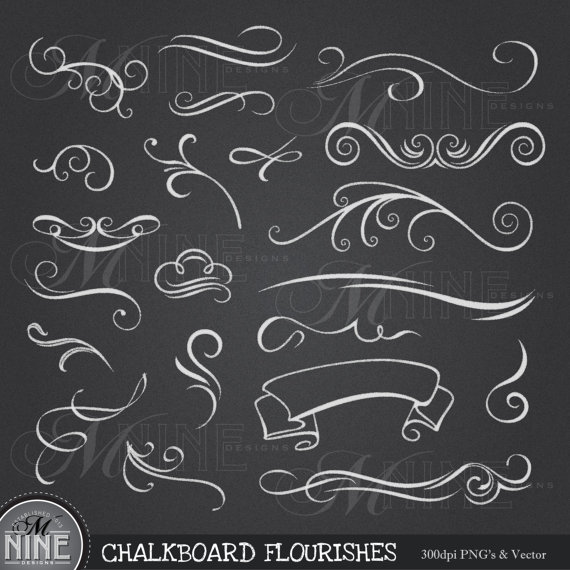 chalkboard clip art chalk flourishes clipart design elements