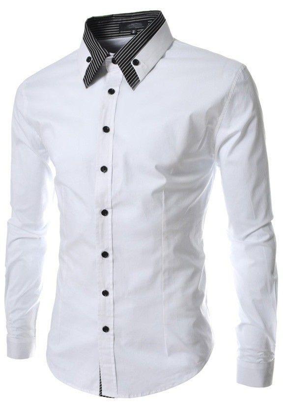 Camisa De Vestir Elegante Fashion Cuello A Rayas