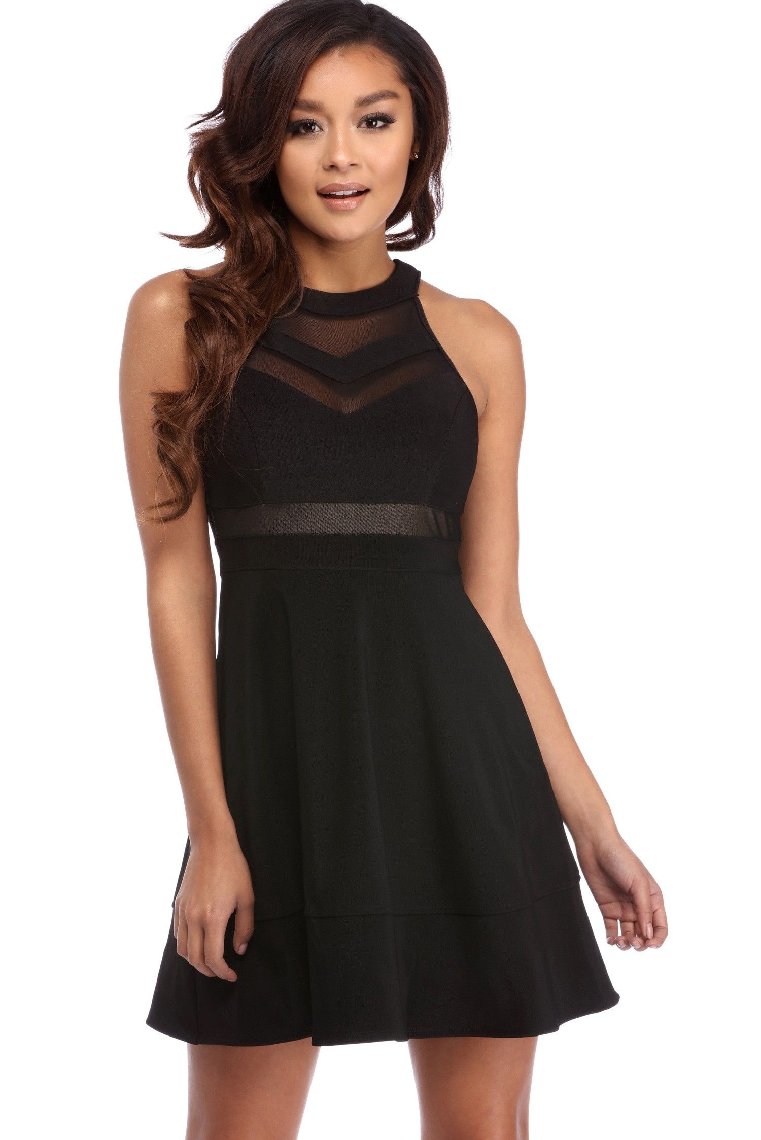 Black illusion skater dress illusions simple dresses and homecoming
