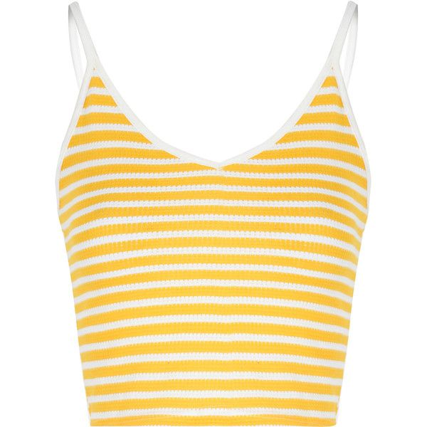 edff8fac5c6050 Yellow And White Stripe V Neck Crop Top ($16) ❤ liked on Polyvore featuring  tops, yellow, leather crop top, striped top, spaghetti strap top, striped  crop ...