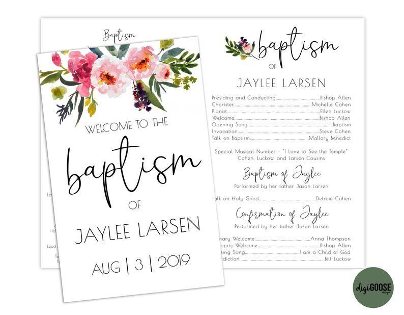 LDS Baptism Program Girl Printable Baptism Program Editable Template Floral Gold White Watercolor