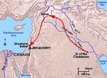 AbrahamBible Archaeologymap showing possible route taken by