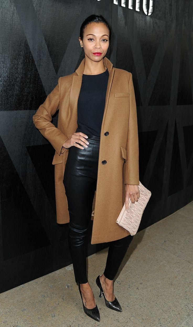 Zoe Saldana wearing Brown Coat, Black Crew-neck T-shirt, Black ...
