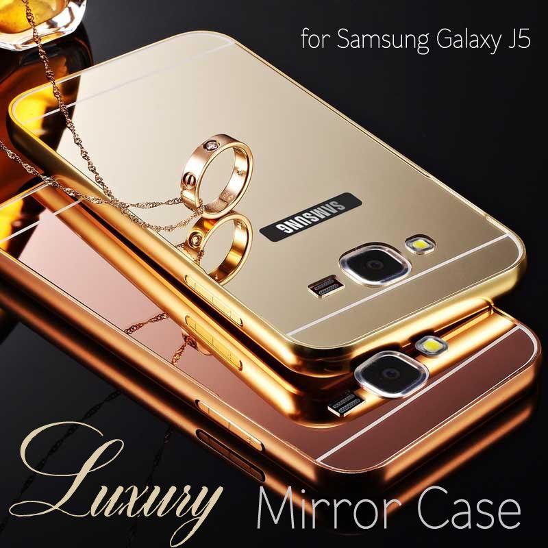 f91018e3e10 Caja del teléfono para Samsung Galaxy J5 / J7 caja del espejo del marco de  aluminio de Metal y acrílico contraportada casos para Samsung Galaxy J500 /  J700