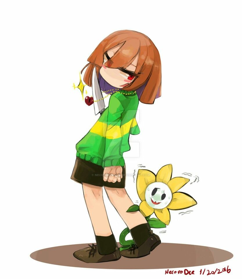 Chara and Flowey nervous