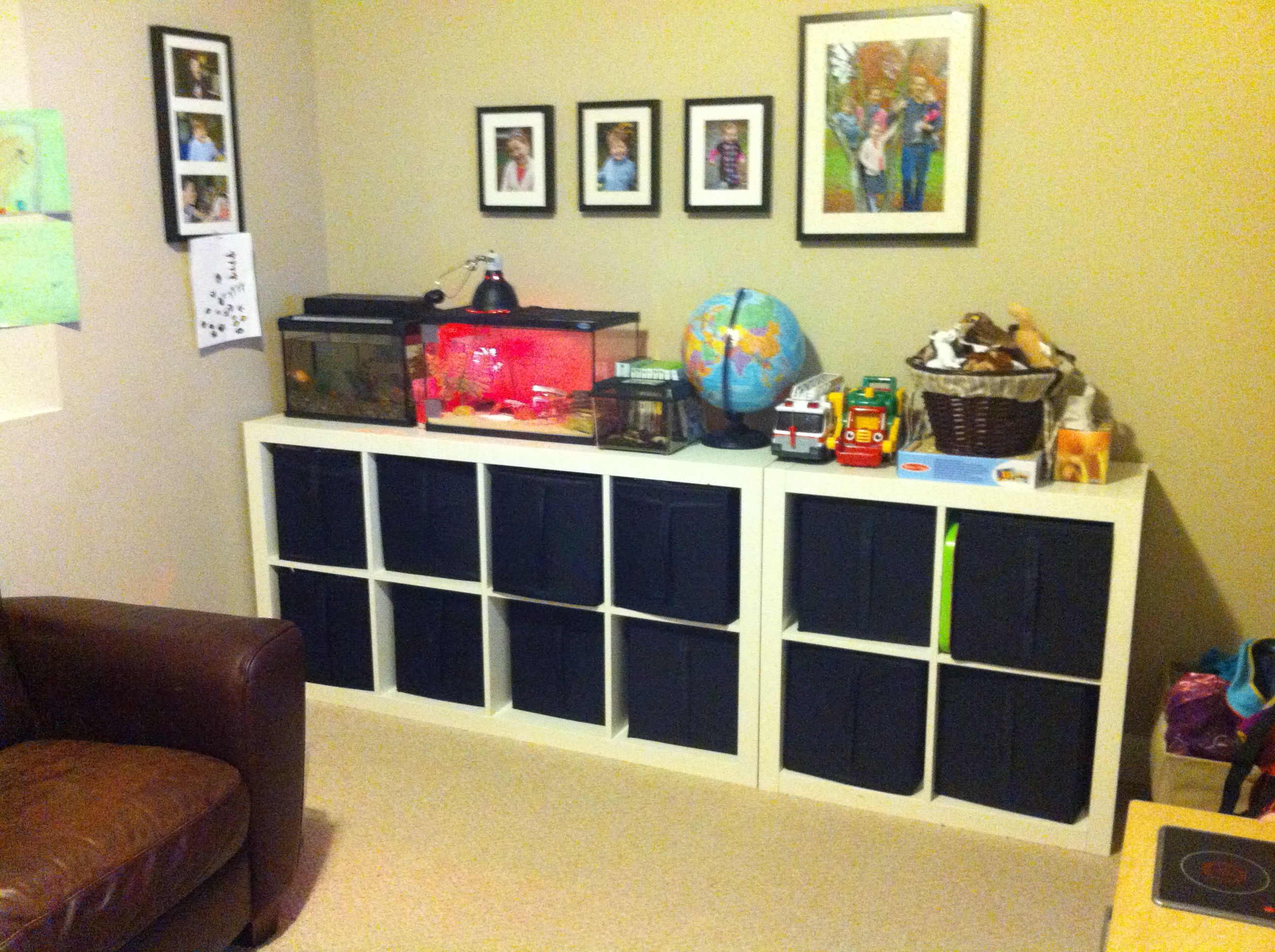 toy storage ikea expedit storage unit houses toys for three kids ages 20 months to six years old. Black Bedroom Furniture Sets. Home Design Ideas