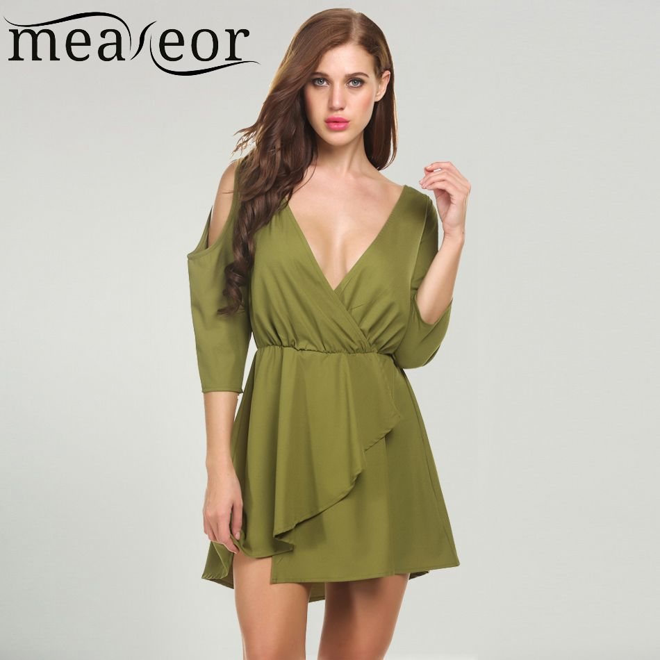 085cdd949a Find More Dresses Information about Meaneor Women Dress For Lady Summer  Deep V Neck 3 4 Sleeve Cold Shoulder Backless Skater Dresses Solid Feminino  Party ...