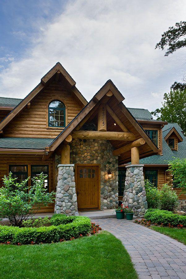 river rock front | brick/stone exteriors | Log homes, Log home ... on block home designs, brick kitchen designs, natural stone home designs, brick garage designs, cement home designs, wood home designs, tile home designs,