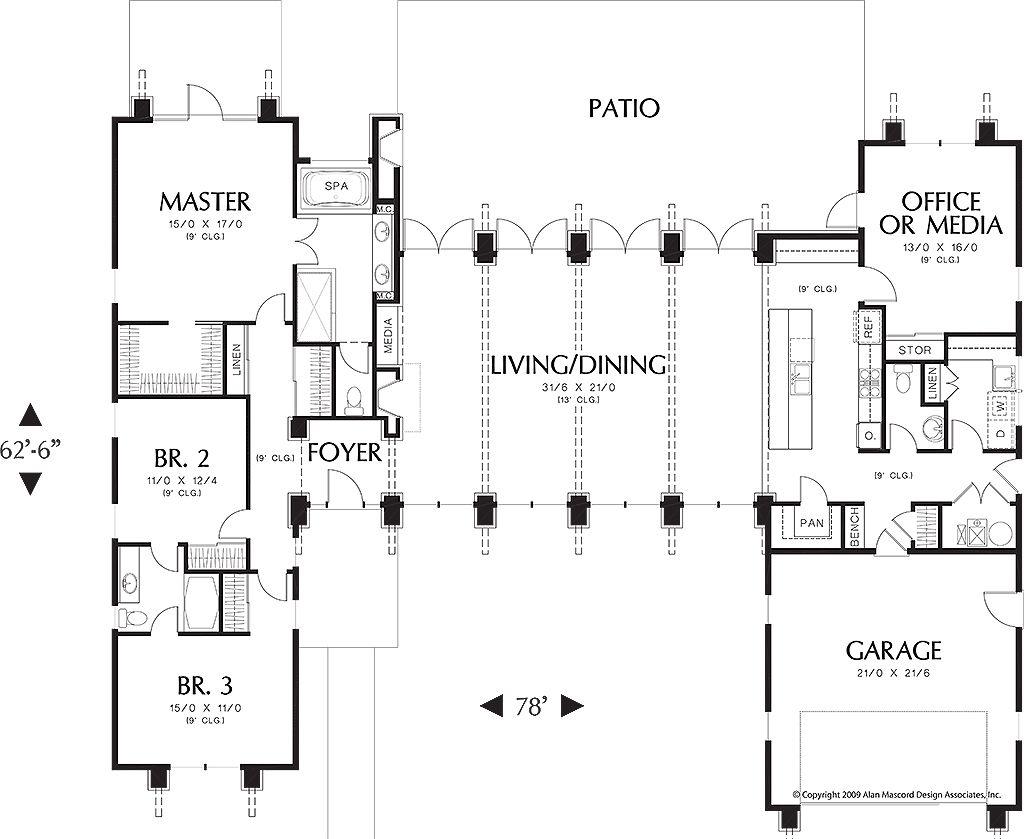 Plano de moderna casa de un piso vidriada 3 dormitorios for Planos de casas de un piso